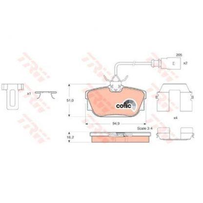 JUEGO BALATAS FRENO SEAT ALHAMBRA 1.8 T (7V9) 1.8 LT. 150HP 02-07 7M3698451D